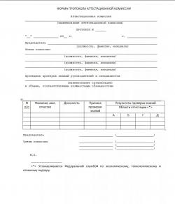 Образец протокола заседания аттестационной комиссии территориального управления